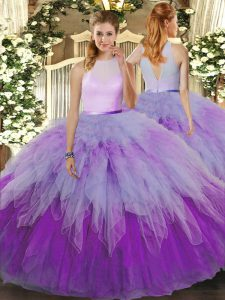 Fashionable Multi-color Organza Zipper High-neck Sleeveless Floor Length 15th Birthday Dress Ruffles