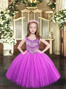 Lilac Kids Formal Wear Party and Quinceanera with Beading Scoop Sleeveless Lace Up