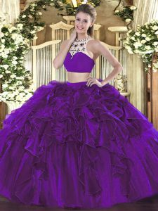 Flare Eggplant Purple Sleeveless Floor Length Beading and Ruffles Backless Quince Ball Gowns