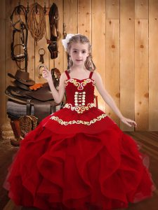 Wine Red Straps Neckline Embroidery and Ruffles Little Girl Pageant Gowns Sleeveless Lace Up