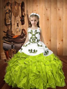 Yellow Green Ball Gowns Organza Straps Sleeveless Embroidery and Ruffles Floor Length Lace Up Kids Formal Wear