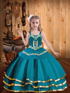 Latest Teal Ball Gowns Embroidery and Ruffled Layers Pageant Dress for Womens Lace Up Organza Sleeveless Floor Length