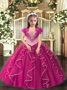 Embroidery and Ruffles Pageant Gowns For Girls Fuchsia Lace Up Sleeveless Floor Length