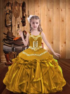 Beauteous Sleeveless Lace Up Floor Length Embroidery and Ruffles Little Girls Pageant Dress