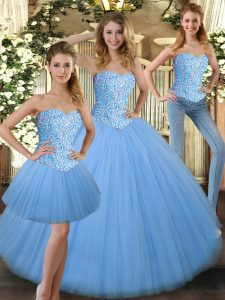 Ball Gowns Vestidos de Quinceanera Baby Blue Sweetheart Tulle Sleeveless Floor Length Lace Up