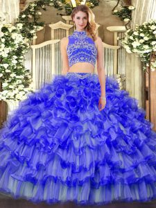 Flare Floor Length Blue Quinceanera Gown Tulle Sleeveless Beading and Ruffled Layers