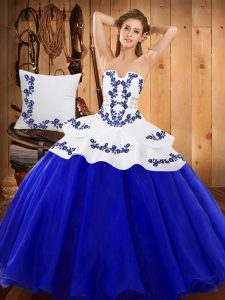 Royal Blue Ball Gowns Embroidery Sweet 16 Quinceanera Dress Lace Up Tulle Sleeveless Floor Length