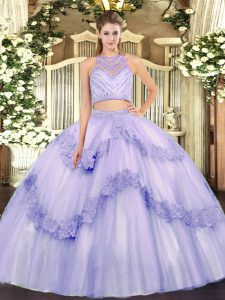 Popular Lavender Tulle Zipper Scoop Sleeveless Floor Length 15 Quinceanera Dress Beading and Appliques