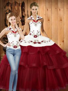 Glamorous Wine Red Sleeveless Satin and Organza Sweep Train Lace Up 15 Quinceanera Dress for Military Ball and Sweet 16 and Quinceanera