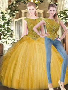 Floor Length Zipper 15th Birthday Dress Gold for Military Ball and Sweet 16 and Quinceanera with Beading and Ruffles