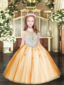 Orange Sleeveless Tulle Zipper High School Pageant Dress for Party and Quinceanera