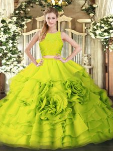 Fine Yellow Green Tulle Zipper Ball Gown Prom Dress Sleeveless Floor Length Ruffles