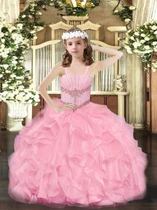 Stylish Rose Pink Ball Gowns Beading and Ruffles Girls Pageant Dresses Zipper Organza Sleeveless Floor Length