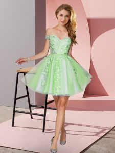 Superior Apple Green Off The Shoulder Neckline Appliques Vestidos de Damas Sleeveless Zipper