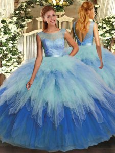 Cute Multi-color Sleeveless Ruffles Floor Length Quinceanera Gowns