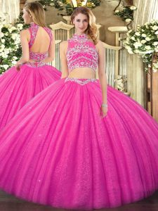 Sleeveless Floor Length Beading Backless Sweet 16 Dress with Hot Pink