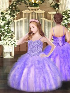 Lovely Sleeveless Appliques and Ruffles Lace Up Pageant Gowns For Girls