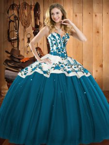 Fashionable Teal Satin and Tulle Lace Up Sweet 16 Dress Sleeveless Floor Length Embroidery