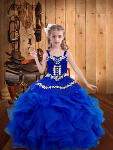 Fancy Straps Sleeveless Organza Little Girls Pageant Gowns Embroidery and Ruffles Lace Up