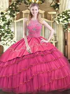 Floor Length Hot Pink Quinceanera Gowns Satin and Tulle Sleeveless Beading and Embroidery and Ruffled Layers