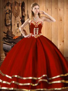 Wine Red Sweetheart Neckline Embroidery and Bowknot Quince Ball Gowns Sleeveless Lace Up