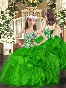 Modern Organza Sleeveless Floor Length Little Girls Pageant Dress Wholesale and Appliques and Ruffles