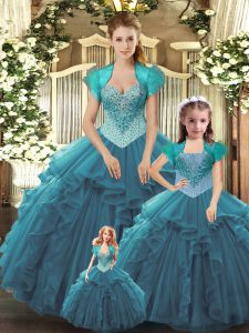 Sleeveless Tulle Floor Length Lace Up Ball Gown Prom Dress in Teal with Beading and Ruffles