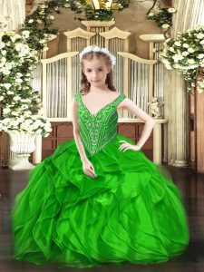 Sleeveless Beading and Ruffles Lace Up Kids Formal Wear