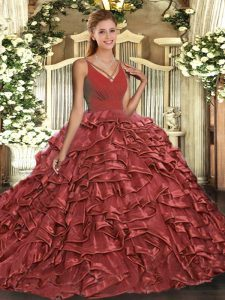 Sexy Rust Red Backless 15 Quinceanera Dress Ruffles Sleeveless Sweep Train