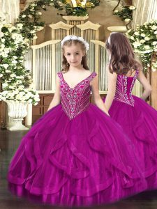 Trendy Floor Length Fuchsia Little Girl Pageant Dress V-neck Sleeveless Lace Up