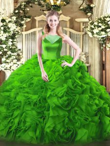 Scoop Sleeveless Fabric With Rolling Flowers 15 Quinceanera Dress Beading Side Zipper