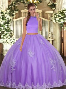 Hot Selling Halter Top Sleeveless Quinceanera Dresses Floor Length Beading and Appliques Lavender Tulle