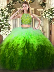 Tulle High-neck Sleeveless Zipper Beading and Ruffles Quinceanera Dresses in Multi-color