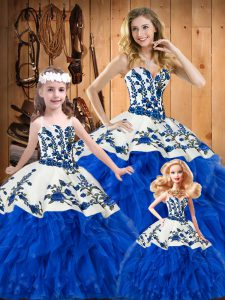 Blue Satin and Organza Lace Up Sweetheart Sleeveless Floor Length 15 Quinceanera Dress Embroidery and Ruffles