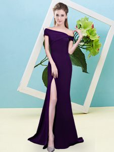 Sumptuous Dark Purple Vestidos de Damas Prom and Party and Wedding Party with Ruching Off The Shoulder Sleeveless Zipper