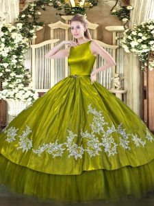 Olive Green Ball Gowns Scoop Sleeveless Satin and Tulle Floor Length Clasp Handle Embroidery Vestidos de Quinceanera