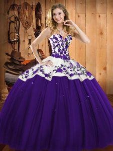 Chic Floor Length Purple Quinceanera Gowns Satin and Tulle Sleeveless Embroidery