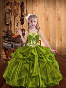 Olive Green Organza Lace Up Little Girl Pageant Gowns Sleeveless Floor Length Embroidery and Ruffles