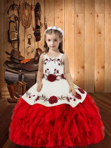 Glorious Red Lace Up Straps Embroidery and Ruffles Pageant Dress for Womens Organza Sleeveless