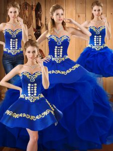 Dynamic Blue Sleeveless Embroidery and Ruffles Floor Length Quinceanera Dress