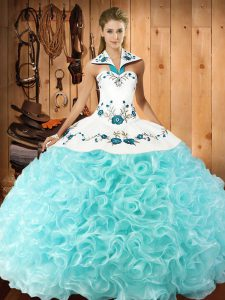 Traditional Aqua Blue Ball Gowns Fabric With Rolling Flowers Halter Top Sleeveless Embroidery Floor Length Lace Up Sweet 16 Quinceanera Dress