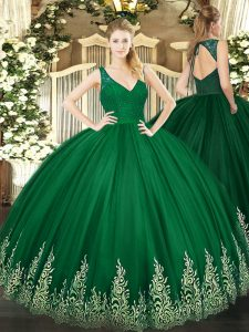 Dark Green Tulle Zipper V-neck Sleeveless Floor Length Quinceanera Gown Beading and Appliques