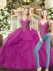 Comfortable Fuchsia Lace Up 15th Birthday Dress Beading and Ruffles Sleeveless Floor Length