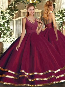 Burgundy Organza Backless V-neck Sleeveless Floor Length Quinceanera Gowns Ruffled Layers