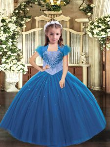 Admirable Straps Sleeveless Pageant Dress Womens Floor Length Beading Blue Tulle