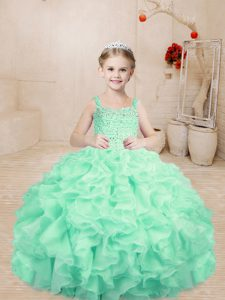 Glorious Floor Length Ball Gowns Sleeveless Apple Green Pageant Gowns For Girls Lace Up