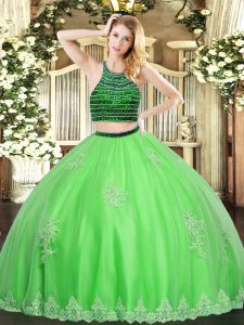Halter Top Sleeveless Tulle Sweet 16 Quinceanera Dress Beading and Appliques Zipper