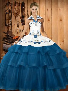 Blue Halter Top Lace Up Embroidery and Ruffled Layers Vestidos de Quinceanera Sweep Train Sleeveless