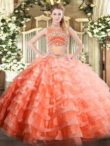 Romantic Floor Length Backless 15th Birthday Dress Orange Red for Military Ball and Sweet 16 and Quinceanera with Beading and Ruffled Layers