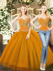 Sweetheart Sleeveless Sweet 16 Dress Floor Length Beading Orange Red Tulle